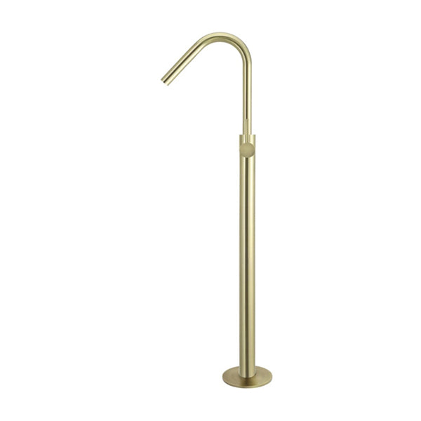 Meir Freestanding Round Bath Mixer with Hand Spray - Tiger Bronze side view - Most popular brushed gold bath filler
