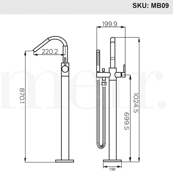 Technical Drawing - Meir Freestanding Round Bath Mixer with Hand Spray