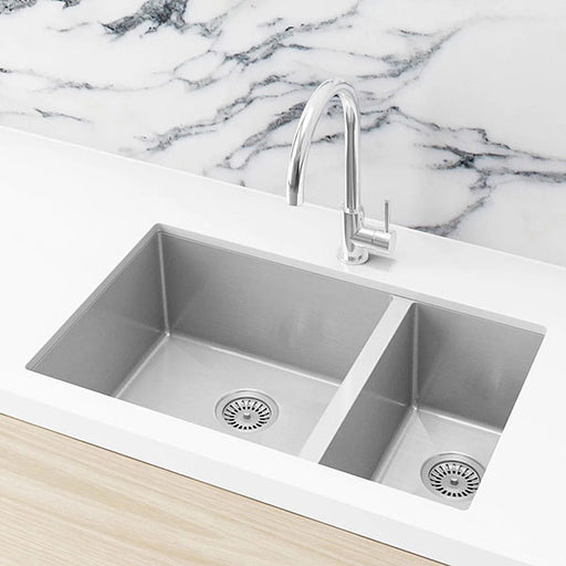 Meir Kitchen Sink Double Bowl 670mm x 440mm - Brushed Nickel