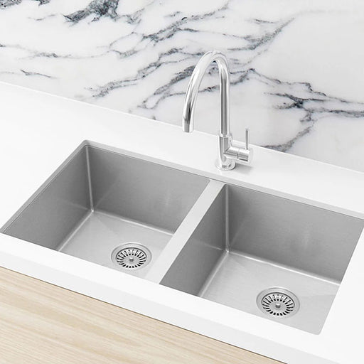 Meir Kitchen Sink Double Bowl 760mm x 440mm - Brushed Nickel