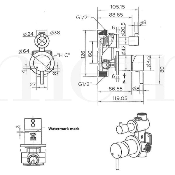 Technical Drawing - Meir Round Diverter Mixer - Tiger Bronze Gold
