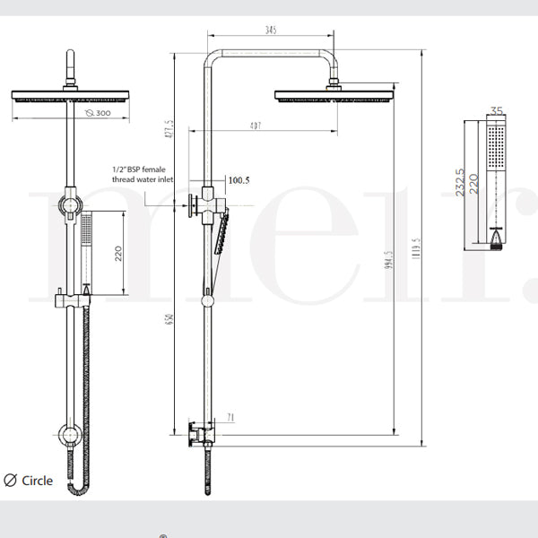 Technical Drawing - Meir Round Combination Shower Rail 300mm Rose & Hand Shower