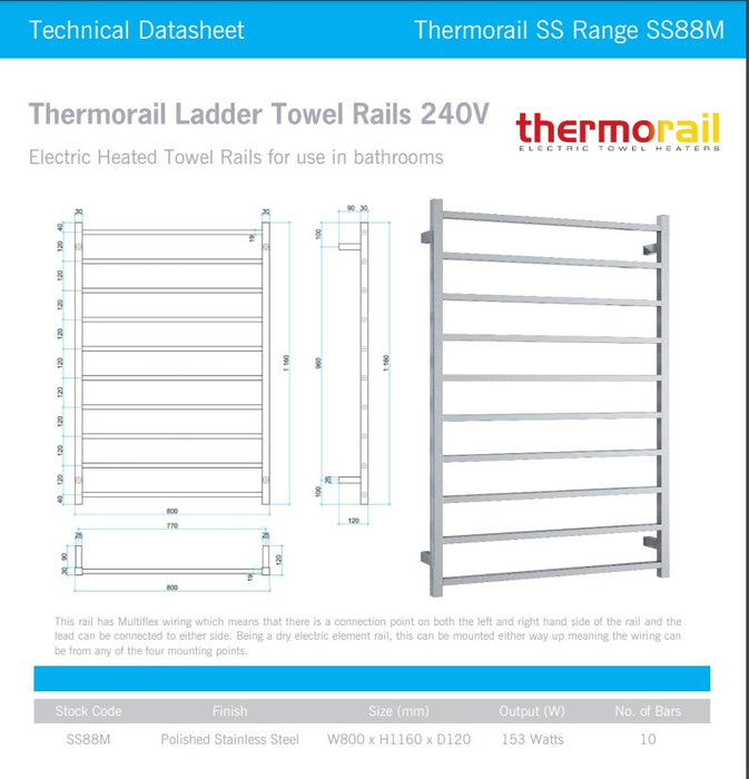 Thermogroup Wide 10 Bar Thermorail Straight Square Heated Towel Ladder 800mm