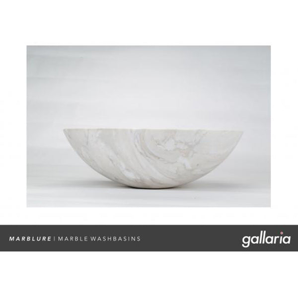 Gallaria Santuza Stone Marblure Vessel Wash Basin - luxury stone bathroom basin - The Blue Space