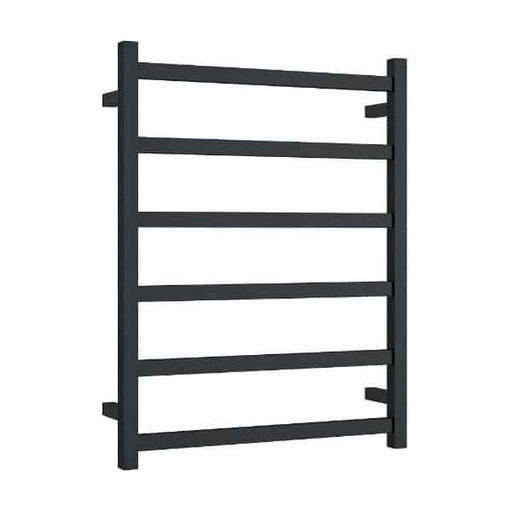 Thermogroup 6 Bar Thermorail Matte Black Straight Square Heated Towel Ladder at The Blue SPace