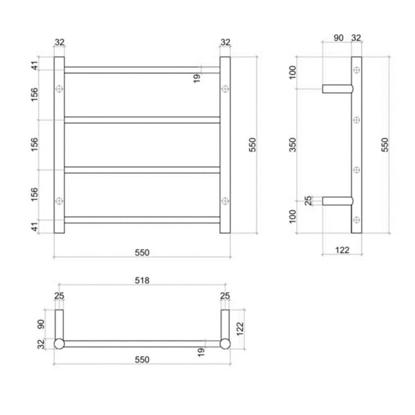 Technical Drawing - Thermogroup Thermorail Matte Black Straight Round Ladder Heated Towel Rail