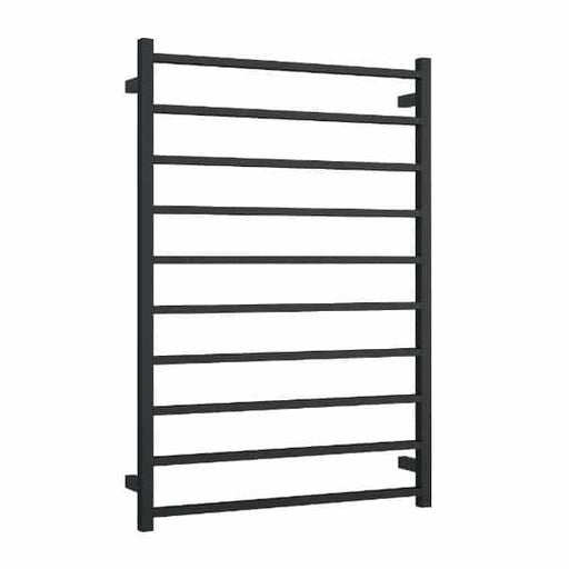 Thermogroup Wide 10 Bar Thermorail Matte Black Straight Square Heated Towel Ladder at The Blue Space
