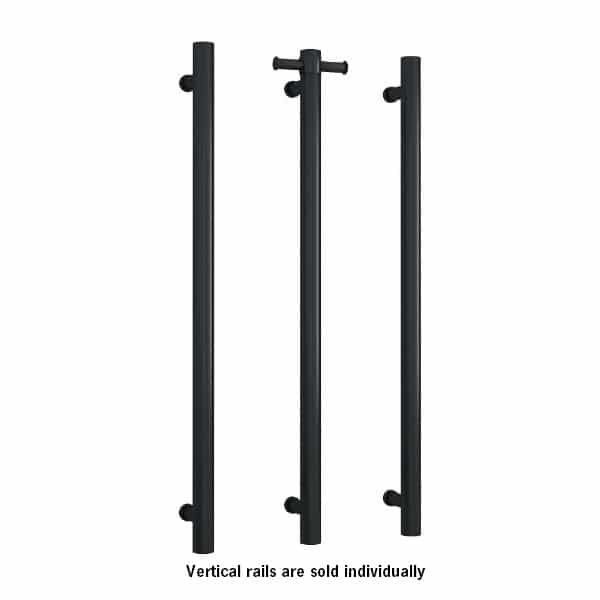 Thermogroup Straight Round Vertical Single Bar Heated Towel Rail - Matte Black online at The Blue Space