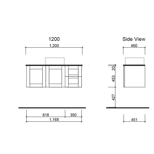 Timberline Victoria Wall Hung Vanity 1200mm with Alpha Ceramic Top technical drawing