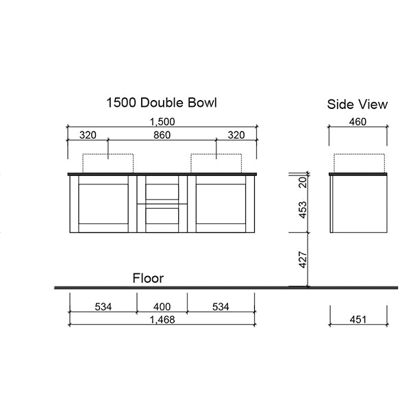 Timberline Victoria Wall Hung Vanity 1500mm with double Alpha Ceramic Top technical drawing