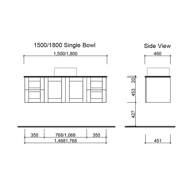 Timberline Victoria Wall Hung Vanity 1500mm with single Alpha Ceramic Top technical drawing