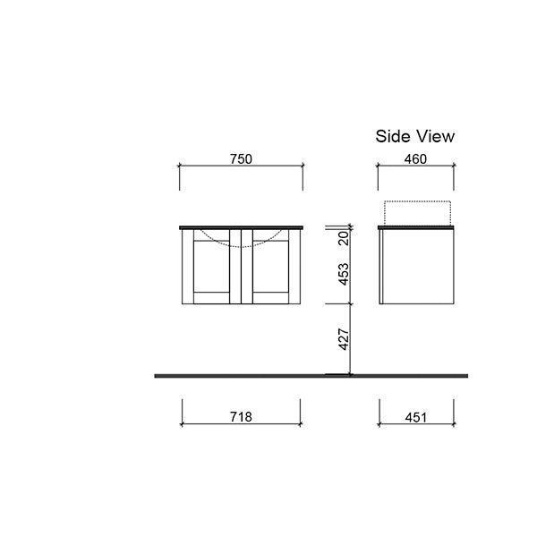 Timberline Victoria Wall Hung Vanity 750mm with Alpha Ceramic Top technical drawing