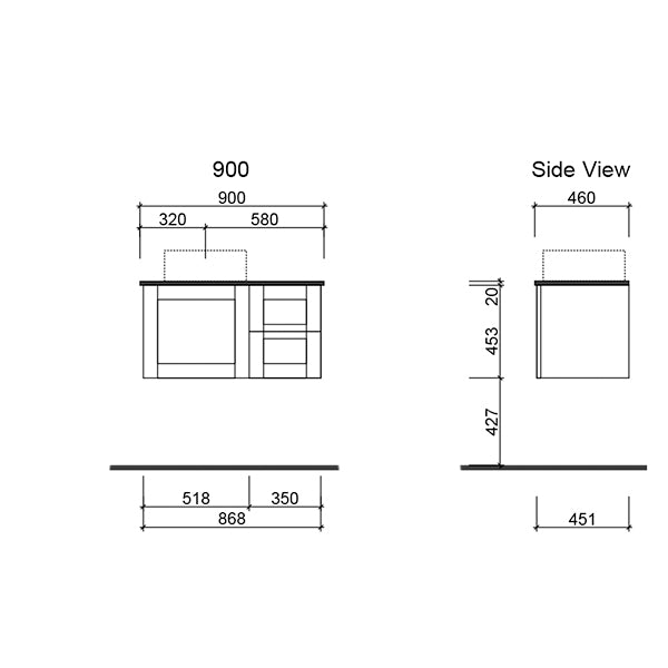 Timberline Victoria Wall Hung Vanity 900mm with Alpha Ceramic Top technical drawing