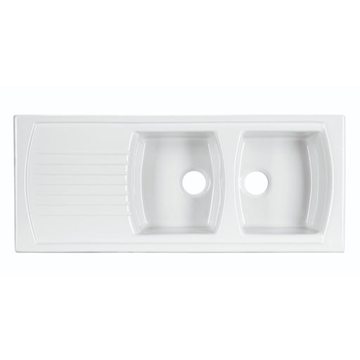 Turner Hastings Lusitano 120 x 50 Recessed Fine Fireclay Kitchen Sink - Double Bowl, Single Drainer online at The Blue Space