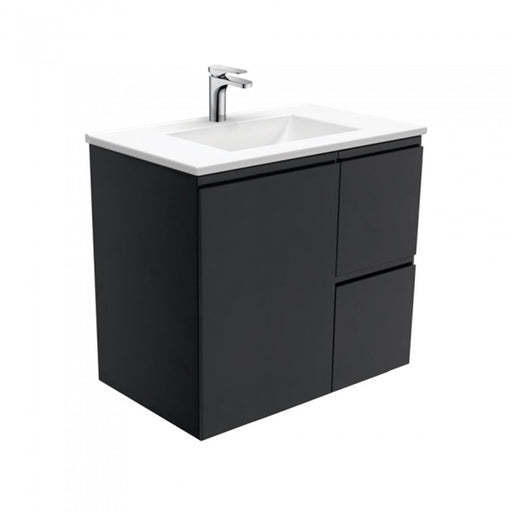 Fienza Vanessa Fingerpull Wall Hung Vanity Matte Black 750mm - The Blue Space
