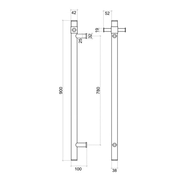 Thermogroup Straight Round Vertical Single Bar Heated Towel Rail Technical Drawing - The Blue Space