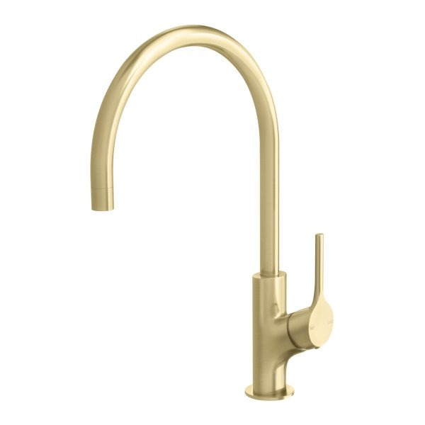 Phoenix Vivid Slimline Oval Sink Mixer 220mm Gooseneck Brushed Gold online at The Blue Space