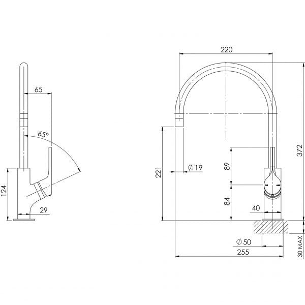 Technical Drawing - Phoenix Vivid Slimline Oval Sink Mixer 220mm Gooseneck Brushed Gold