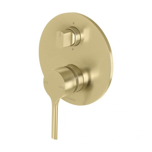 Phoenix Vivid Slimline Oval Shower/Bath Diverter Mixer Brushed Gold online at The Blue Space