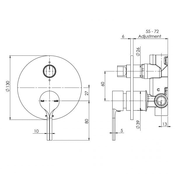 Technical Drawing - Phoenix Vivid Slimline Oval Shower/Bath Diverter Mixer Brushed Gold