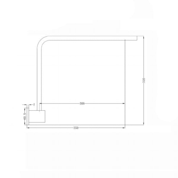 Technical Drawing - Nero Square Swivel Shower Arm 350mm