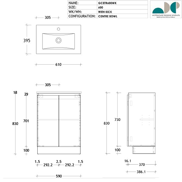 ADP Glacier Ceramic Ensuite Trio 600mm - 900mm by ADP - The Blue Space