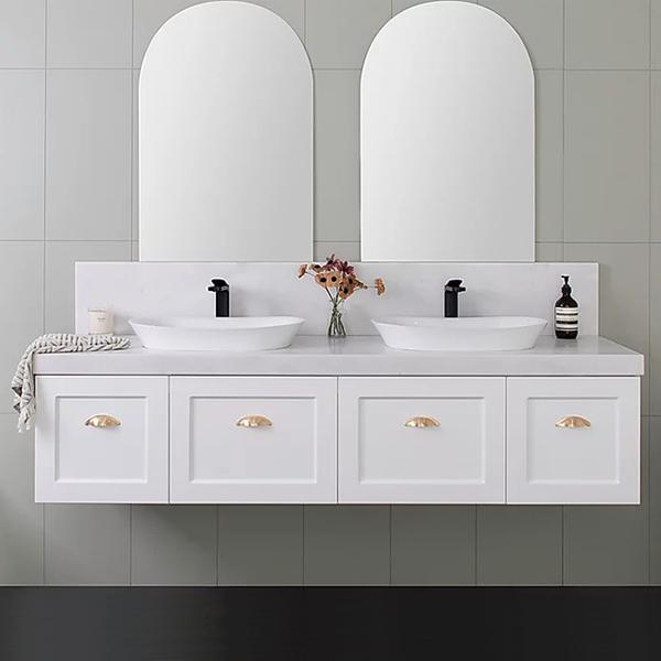 ADP London Wall hung Vanity with gold handles online at The Blue Space