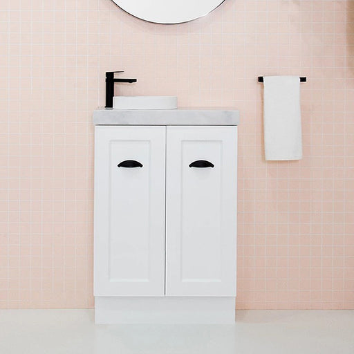 ADP Madison Mini Vanity 600mm in matte white with matte black seashell handles