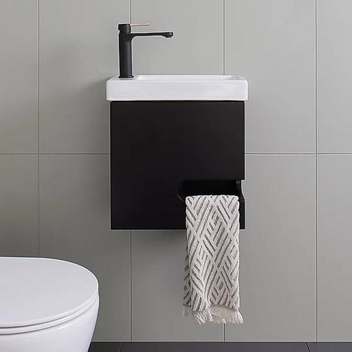 ADP Micro Wall Hung Vanity matte black, small vanities online at The Blue Space