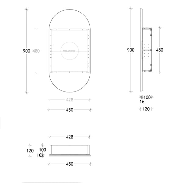 ADP Pill Shaving Cabinet 450mm technical drawing