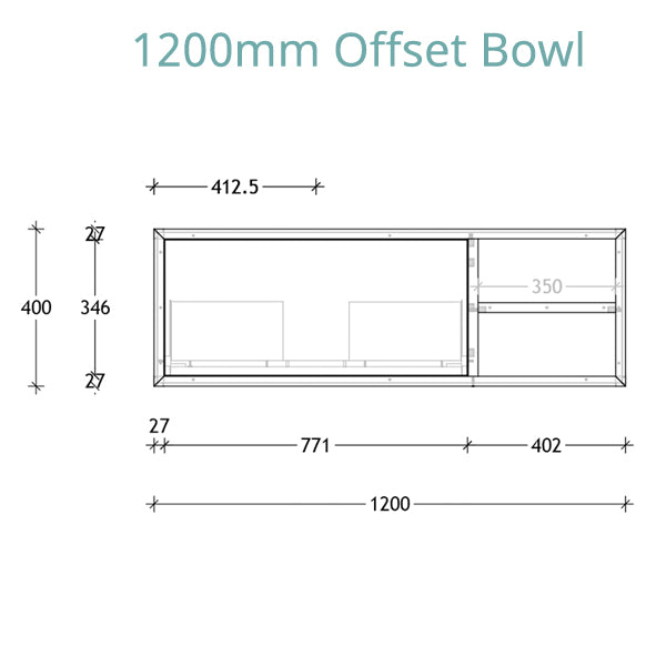 ADP Serena Vanity 1200 offset bowl technical drawing