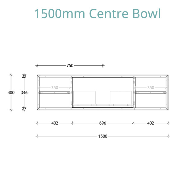 ADP Serena Vanity 1500 centre bowl technical drawing