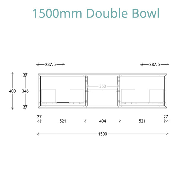 ADP Serena Vanity 1500 double bowl technical drawing