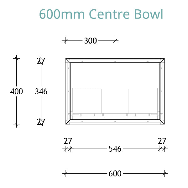 ADP Serena Vanity 600 centre bowl technical drawing
