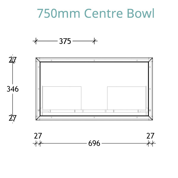 ADP Serena Vanity 750 centre bowl technical drawing