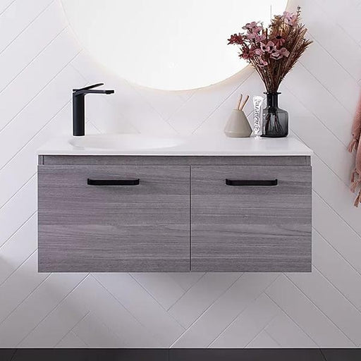 ADP Snow Vanity 900mm left hand offset bowl with integrated top at The Blue Space