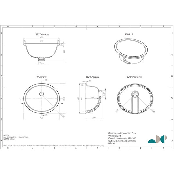 ADP Oval Under Counter Basin by ADP - The Blue Space