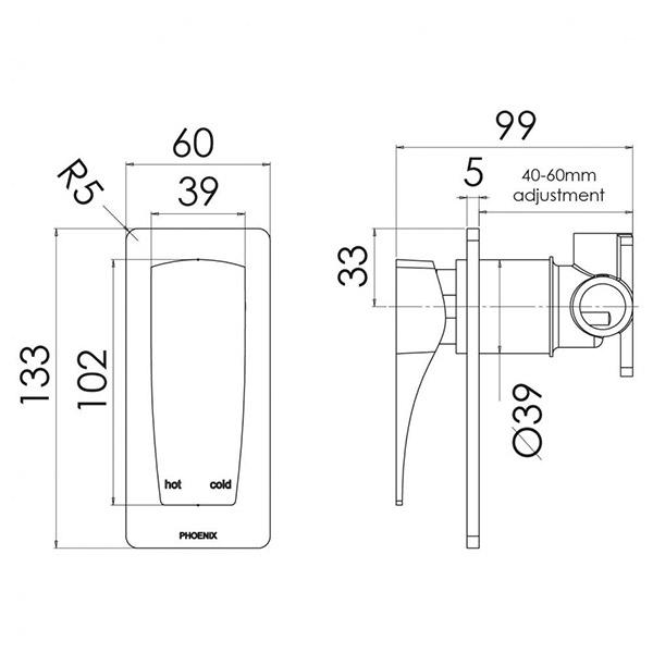 Phoenix Argo Shower/Wall Mixer specs - line drawing and dimensions