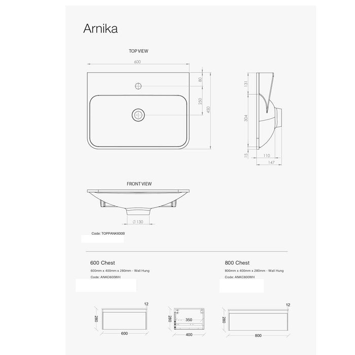 ADP Arnika 600mm Wall Basin by ADP - The Blue Space