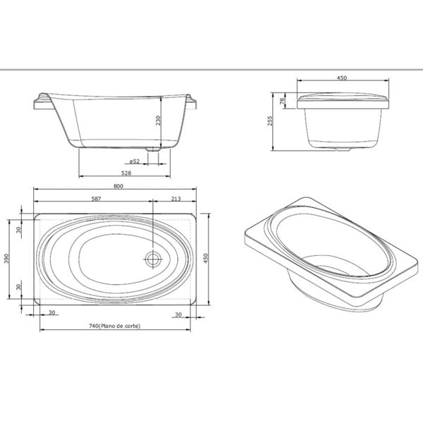 Turner Hastings Baby Bath Technical Drawing