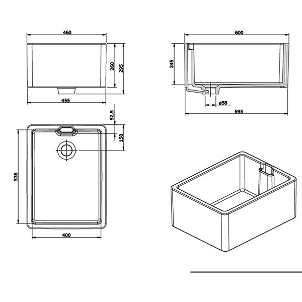 Turner Hastings Belfast Flat Front Fine Fireclay Butler Sink Technical Drawing - The Blue Space
