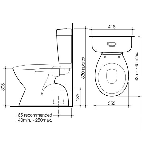 Caroma Aire Concorde Connector Toilet Suite by Caroma - The Blue Space