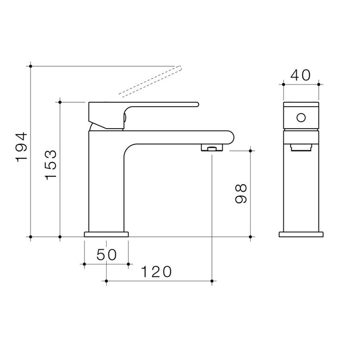 Caroma Aura Basin Mixer by Caroma - The Blue Space - Line drawings