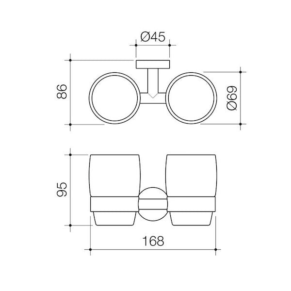 Caroma Cosmo Metal Tumbler Holder Technical Drawing - The Blue Space