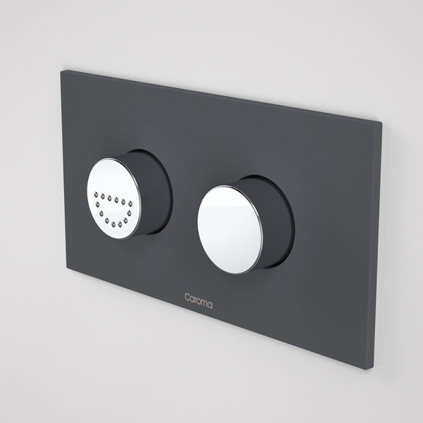 Caroma Invisi Series II Round Dual Flush Plate & Raised Care Buttons - Afternoon Daze by Caroma - The Blue Space
