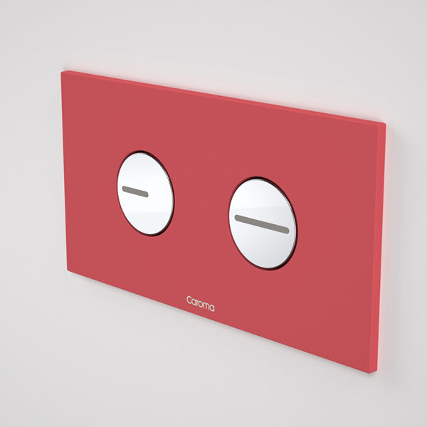 Caroma Invisi Series II Round Dual Flush Plate & Buttons - Cheeky Red by Caroma - The Blue Space
