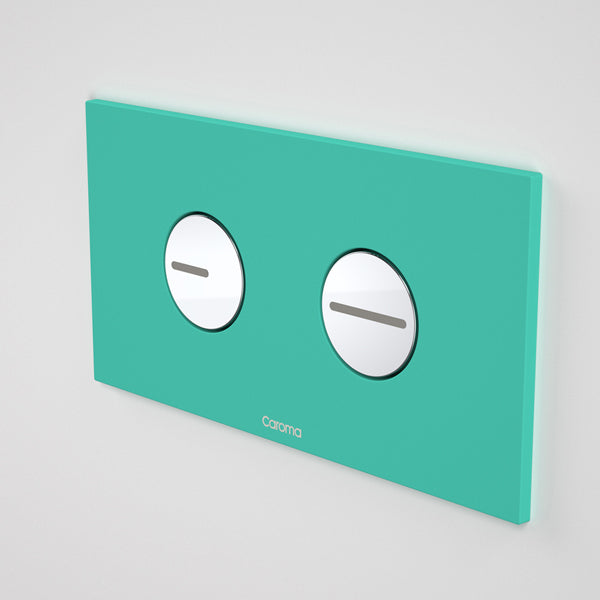 Caroma Invisi Series II Round Dual Flush Plate & Buttons - Feisty Turquoise by Caroma - The Blue Space