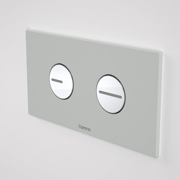 Caroma Invisi Series II Round Dual Flush Plate & Buttons - Light Grey by Caroma - The Blue Space