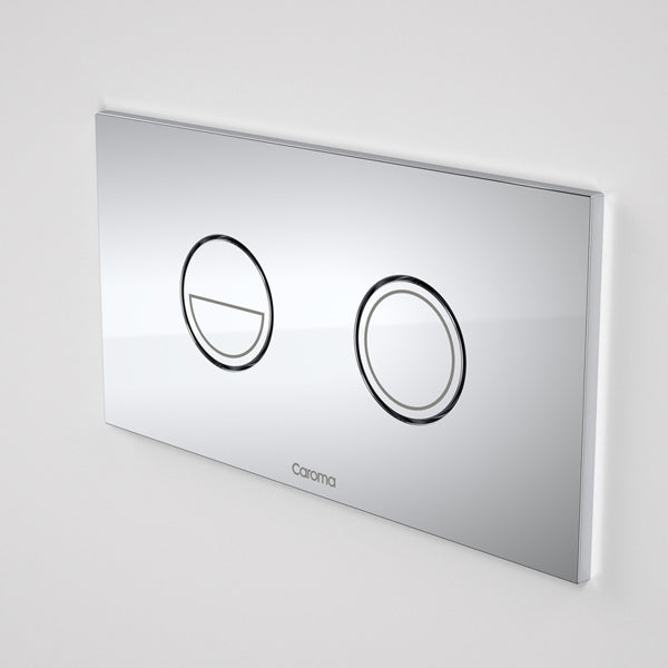 Caroma Invisi Series II Round Dual Flush Metal Plate & Buttons Neutral by Caroma - The Blue Space