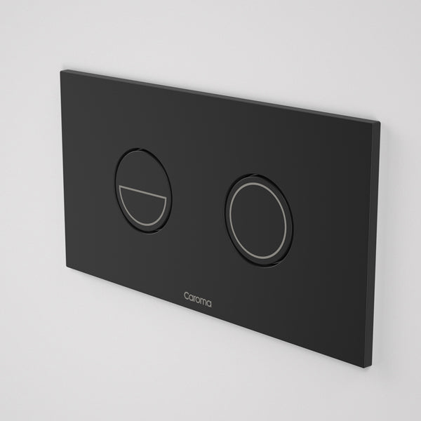 Caroma Invisi Series II Round Dual Flush Metal Plate & Buttons Metallic - Black by Caroma - The Blue Space